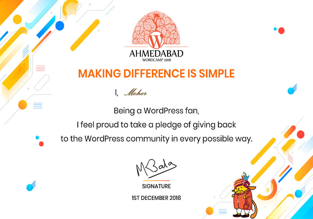 WC Ahmedabad 2018 Certificate